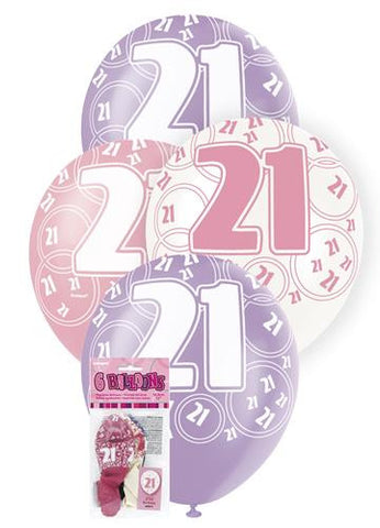 Glitz Pink Latex Balloons - 21 - Yakedas Party and Giftware
