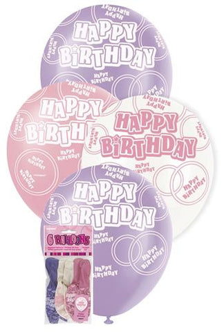 Glitz Pink Latex Balloons - Happy Birthday