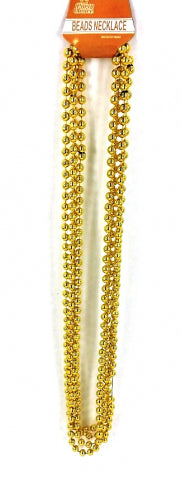 Beads Long Necklace (4pcs) 8mm*83cm Gold - Yakedas Party and Giftware