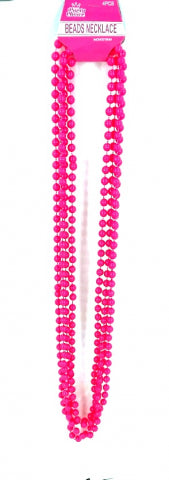 Beads Long Necklace (4pcs) 8mm*83cm Pink - Yakedas Party and Giftware