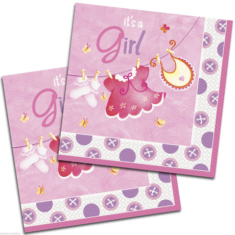 It's A Girl's Cute Clothesline Napkins for Baby Shower - Yakedas Party and Giftware