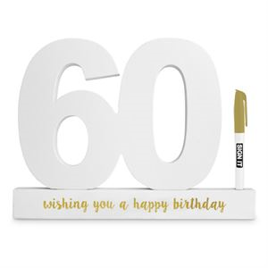 60th Sign it Block White - Yakedas Party and Giftware