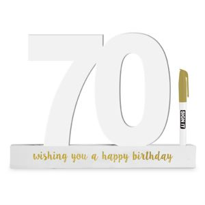 70th Sign it Block White - Yakedas Party and Giftware