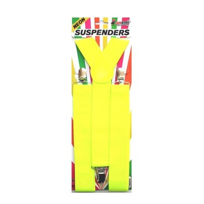 Neon Suspenders Yellow - Yakedas Party and Giftware