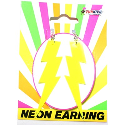 Neon Earring Lightning Yellow - Yakedas Party and Giftware