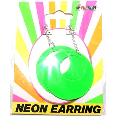 Neon Earring Oval Green - Yakedas Party and Giftware