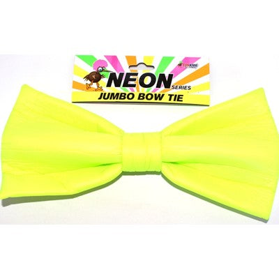 Neon Jumbo Bow Tie Yellow - Yakedas Party and Giftware