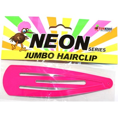 Neon Jumbo Hair Clip Pink - Yakedas Party and Giftware