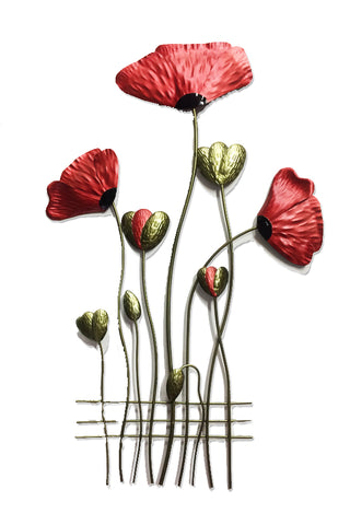 Poppy Fence Metal Wall Hanging - Yakedas Party and Giftware