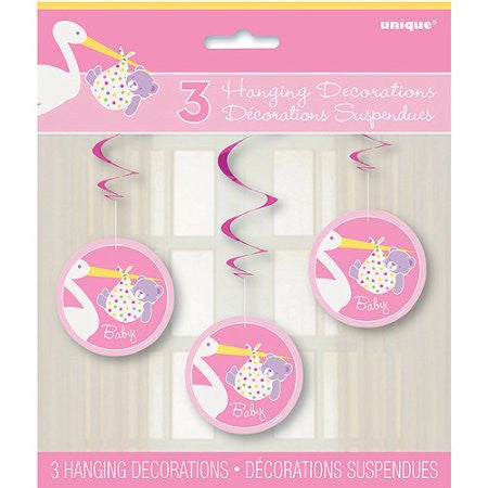 Pink Stork Baby Shower Hanging Swirl Decorations