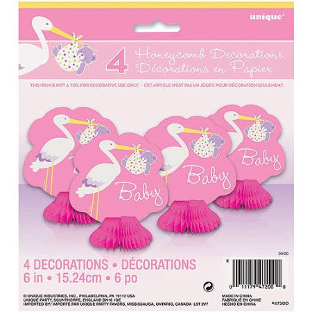 Pink Stork Baby Shower Mini Honeycomb Decoration - Yakedas Party and Giftware