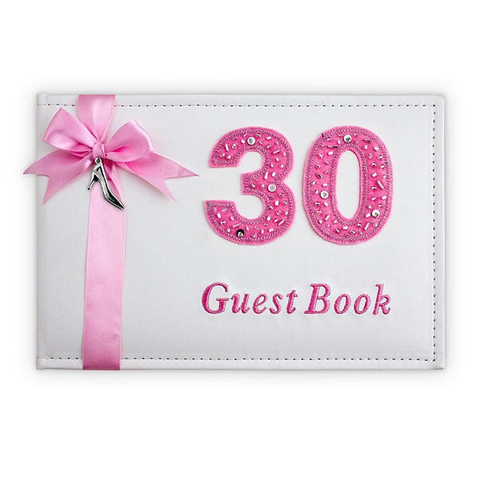 Pink & White 30th Birthday Guest Book - Yakedas Party and Giftware