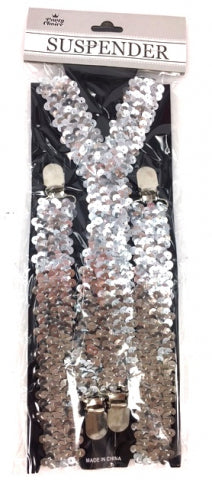 Adult Suspender Shinning Silver - Yakedas Party and Giftware