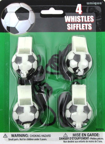 Soccer Party 4 Whistles Sifflets - Yakedas Party and Giftware