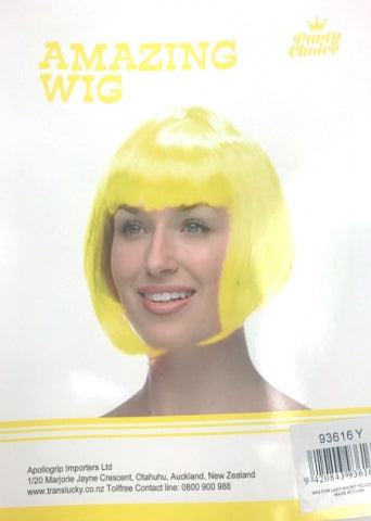 Short Hair Wig - Yellow - Yakedas Party and Giftware