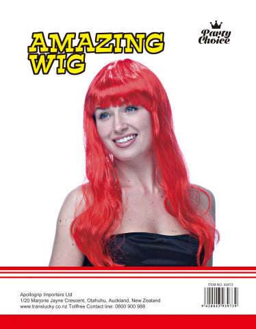 Long Straight Wig - Red - Yakedas Party and Giftware