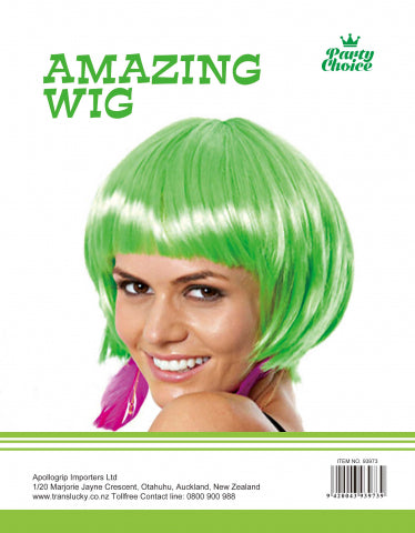 Short Hair Wig - Green - Yakedas Party and Giftware