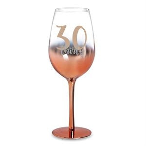 30 ROSE GOLD OMBRE WINE GLASS 430ML - Yakedas Party and Giftware