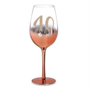 40 ROSE GOLD OMBRE WINE GLASS 430ML - Yakedas Party and Giftware