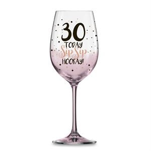 30 PINK SIP SIP HOORAY WINE GLASS 430ML - Yakedas Party and Giftware