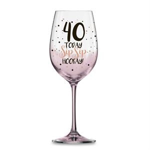 40 PINK SIP SIP HOORAY WINE GLASS 430ML - Yakedas Party and Giftware