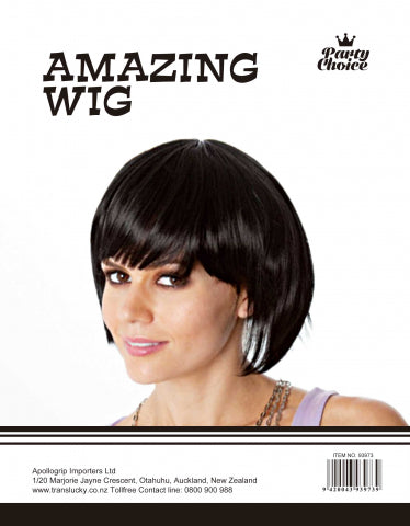 Short Hair Wig - Black - Yakedas Party and Giftware