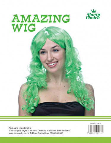 Long Curly Wig-  Green - Yakedas Party and Giftware