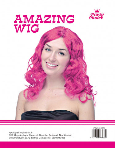Long Curly Wig-  Hot Pink - Yakedas Party and Giftware