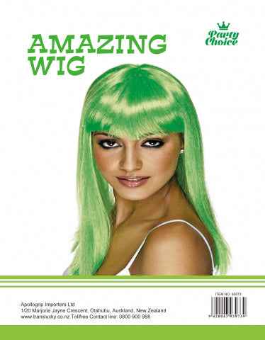 Long Straight Wig - Green - Yakedas Party and Giftware