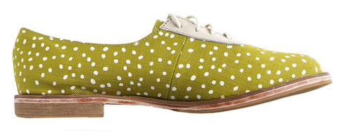 Xolani Oxford In Chartreuse and White Dots