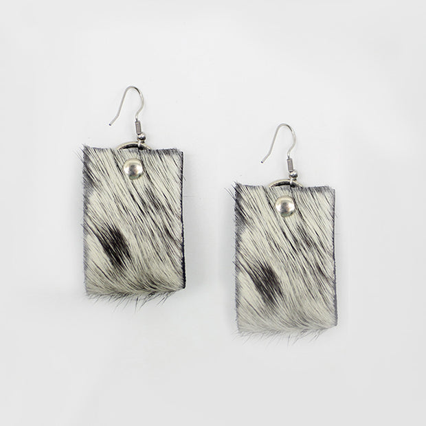 Oba Loop Earrings In Salt Pepper Nguni