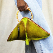 The Sanaa Triangle Bag In Springbok / Lime
