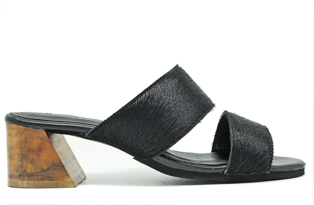 Shani Heel In Black Hide