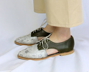 Benya Cut Out Oxford in Nguni Silver / Olive - Matsidiso South Africa