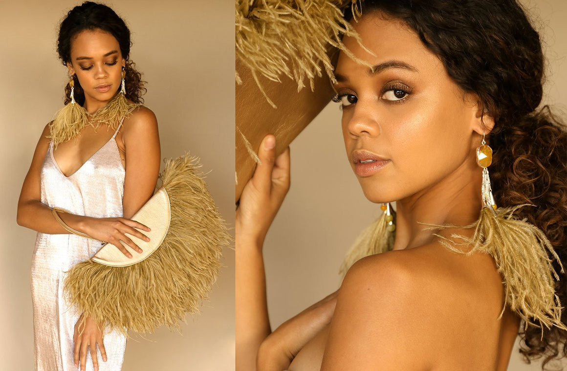 Le Petit Ostrich Feather Clutch Bag In Gold - Matsidiso South Africa