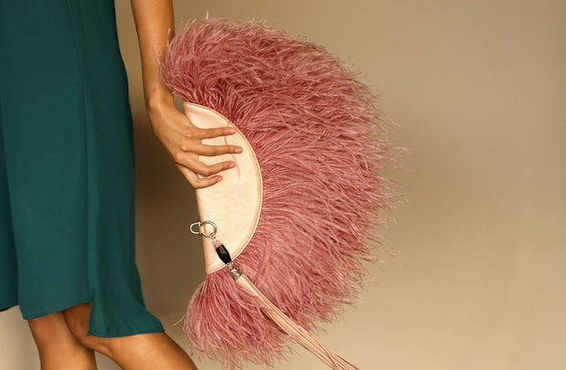 Le Petit Ostrich Feather Clutch Bag In Rose - Matsidiso South Africa