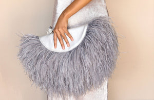 Le Petit Ostrich Feather Clutch Bag In Silver - Matsidiso South Africa