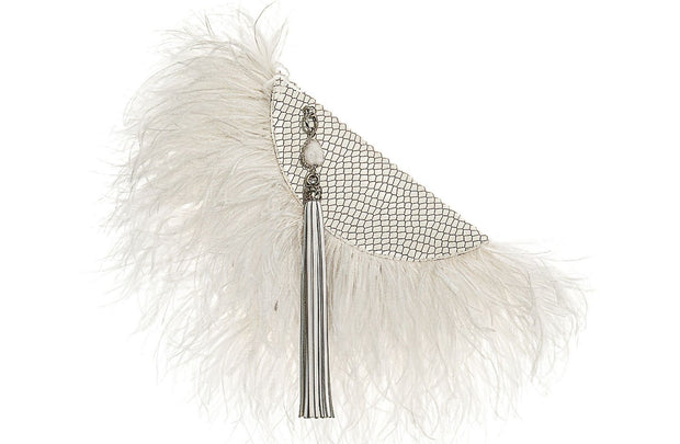 Le Petit Ostrich Feather Clutch Bag In White / Embossed Croc - Matsidiso South Africa