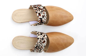 Lea Slider In Hazelnut / Splash Cowhide