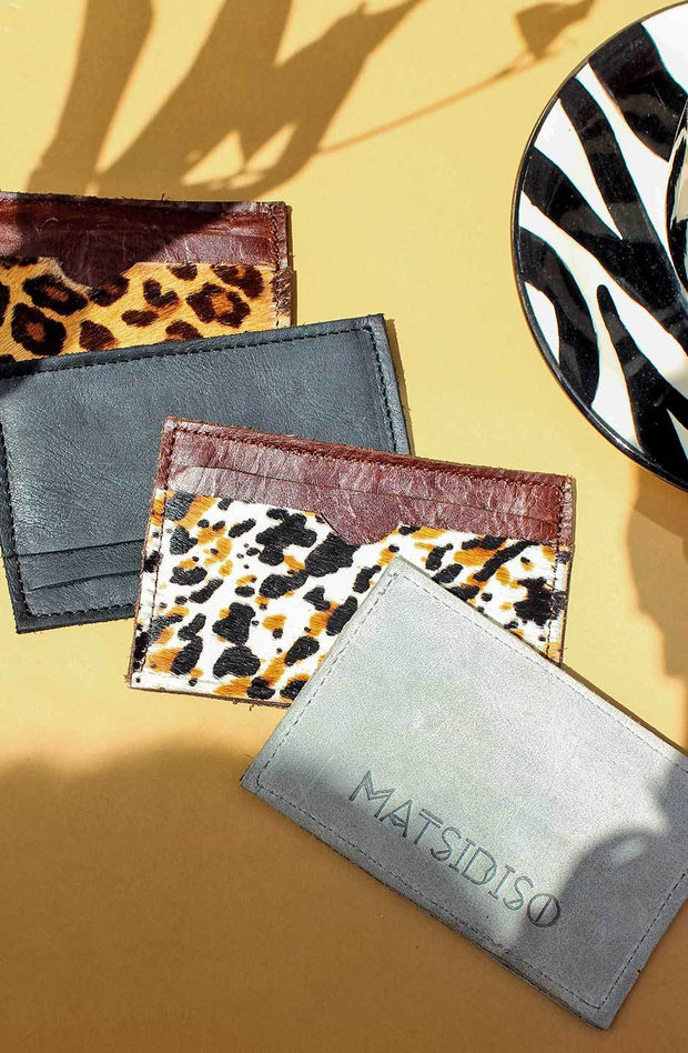 Leather Card Holder In Espresso / Splash Cowhide - Matsidiso South Africa