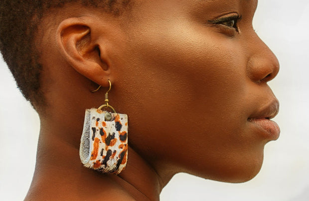 Oba Loop Earrings In Multi Splash Cowhide - Matsidiso South Africa