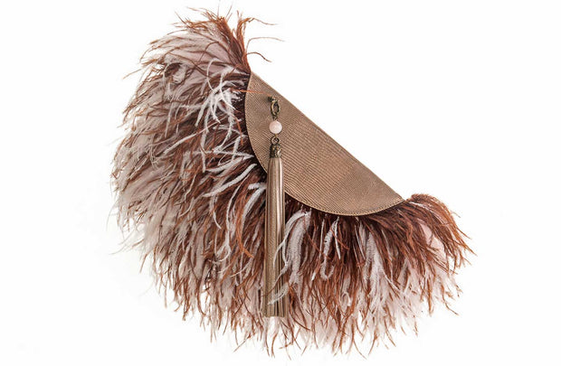 Le Petit Ostrich Feather Clutch Bag In Brown Trio