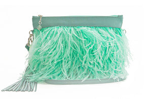 The Day Sling In Sea Blue Ostrich Feathers