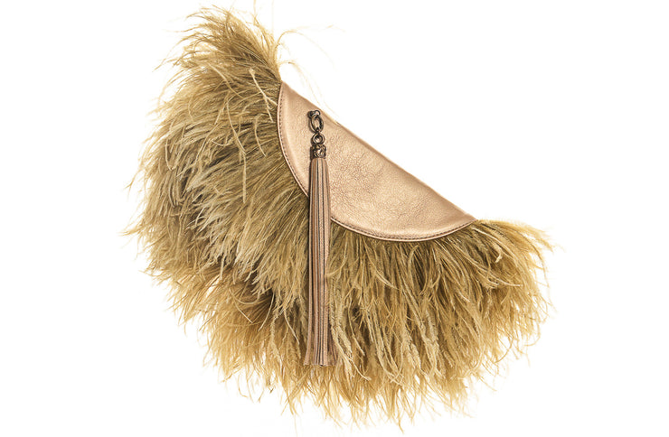 Le Petit Ostrich Feather Clutch Bag In Gold