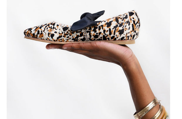 Palesa Flat in Splash Cowhide / Black Bow - Matsidiso South Africa