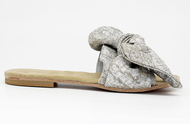 Tau Bow Slider Sandal In Metallic Silver - Matsidiso South Africa
