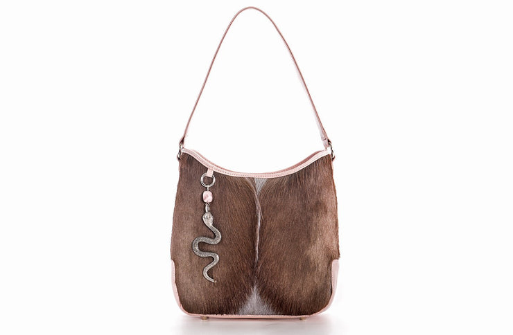 The Atiena Bucket Bag In Ballet Pink / Grey Springbok - Matsidiso South Africa