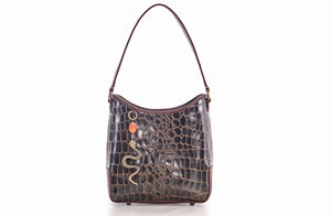 The Atiena Bucket Bag In Choc / Embossed Croc - Matsidiso South Africa