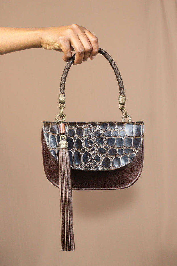 The Camille Bag In Chocolate / Croc - Matsidiso South Africa