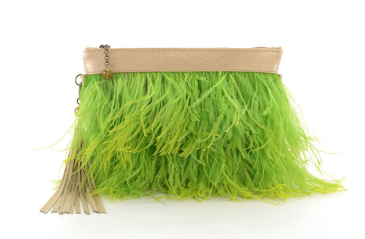 The Day Sling In Lime Ostrich Feathers - Matsidiso South Africa